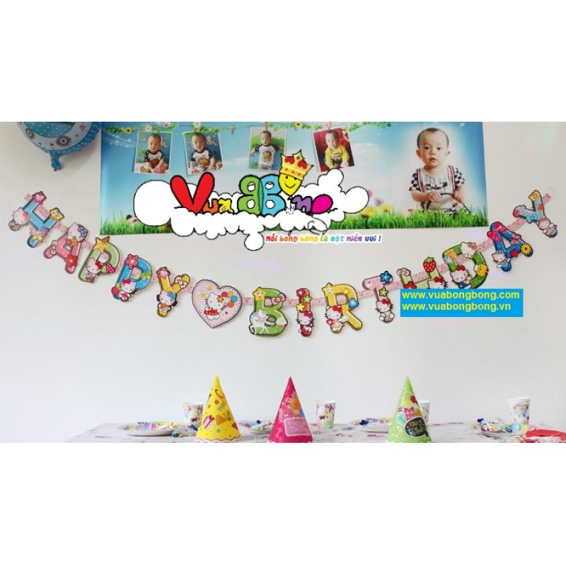 Banner Sinh Nhật Chữ Happy Birthday Hello Kitty